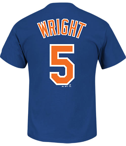 Men's Majestic New York Mets MLB David Wright Name and Number T-Shirt