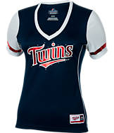 Women's Majestic Minnesota Twins MLB Curveball Babe T-Shirt
