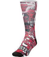 For Bare Feet Chicago Bulls NBA Montage Crew Socks