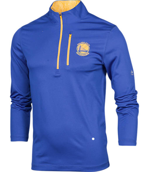 Men's Majestic Golden State Warriors NBA Exclamation Point Quarter-Zip Shirt