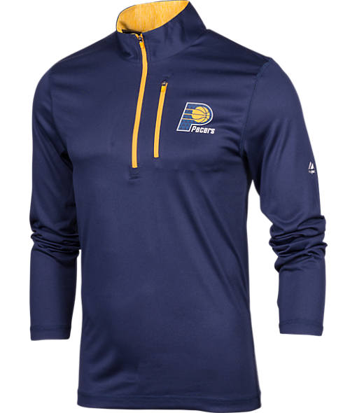Men's Majestic Indiana Pacers NBA Exclamation Point Quarter-Zip Shirt