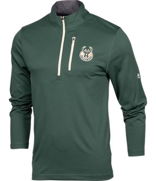 Men's Majestic Milwaukee Bucks NBA Exclamation Point Quarter-Zip Shirt