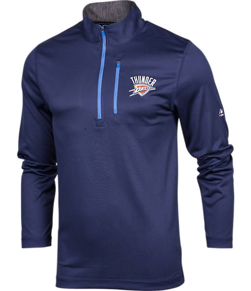 Men's Majestic Oklahoma City Thunder NBA Exclamation Point Quarter-Zip Shirt