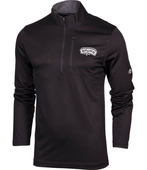 Men's Majestic San Antonio Spurs NBA Exclamation Point Quarter-Zip Shirt
