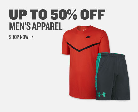 Up To 50% Off Men's Apparel.