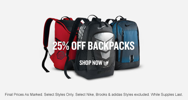 25% Off Backpacks. Shop Now.