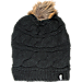 Front view of Women's The North Face Triple Cable Fur Pom Hat in TNF Black/Dijon Brown