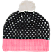 Back view of Youth The North Face Pom Pom Beanie in TNF Black/Cha Cha Pink