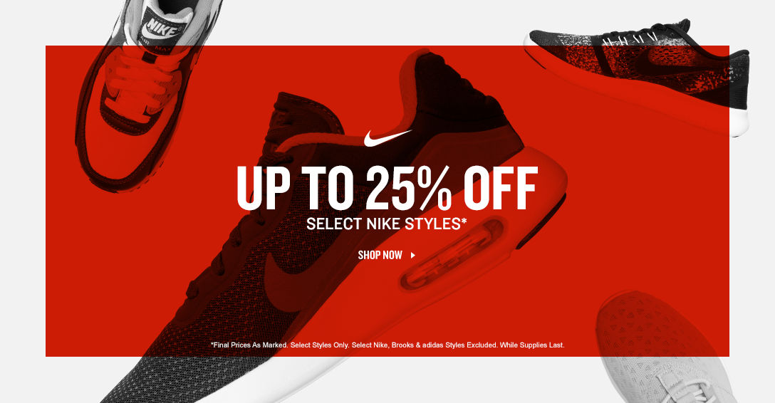 Select Nike Styles Up To 25% Off