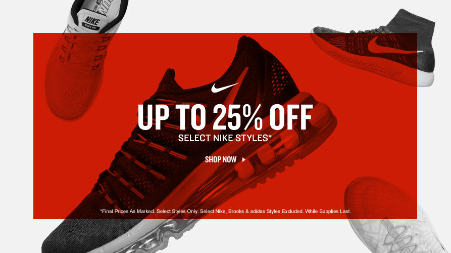 Up To 25% Off Select Nike Styles.
