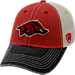 Front view of Top of the World Arkansas Razorbacks College Heritage Offroad Trucker Adjustable Hat in Three Tone Team Colors
