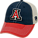 Front view of Top of the World Arizona Wildcats College Heritage Offroad Trucker Adjustable Hat in Three Tone Team Colors