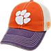 Front view of Top of the World Clemson Tigers College Heritage Offroad Trucker Adjustable Hat in Three Tone Team Colors