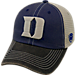 Front view of Top of the World Duke Blue Devils College Heritage Offroad Trucker Adjustable Hat in Three Tone Team Colors