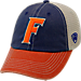 Front view of Top of the World Florida Gators College Heritage Offroad Trucker Adjustable Hat in Three Tone Team Colors