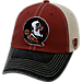 Front view of Top of the World Florida State Seminoles College Heritage Offroad Trucker Adjustable Hat in Three Tone Team Colors