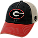 Front view of Top of the World Georgia Bulldogs College Heritage Offroad Trucker Adjustable Hat in Three Tone Team Colors