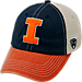 Front view of Top of the World Illinois Fighting Illini College Heritage Offroad Trucker Adjustable Hat in Three Tone Team Colors