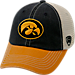 Front view of Top of the World Iowa Hawkeyes College Heritage Offroad Trucker Adjustable Hat in Three Tone Team Colors