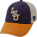 Front view of Top of the World LSU Tigers College Heritage Offroad Trucker Adjustable Hat in Three Tone Team Colors