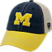 Front view of Top of the World Michigan Wolverines College Heritage Offroad Trucker Adjustable Hat in Three Tone Team Colors