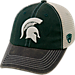 Front view of Top of the World Michigan State Spartans College Heritage Offroad Trucker Adjustable Hat in Three Tone Team Colors
