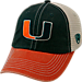 Front view of Top of the World Miami Hurricanes College Heritage Offroad Trucker Adjustable Hat in Three Tone Team Colors