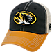 Front view of Top of the World Missouri Tigers College Heritage Offroad Trucker Adjustable Hat in Three Tone Team Colors