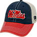 Front view of Top of the World Mississippi Rebels College Heritage Offroad Trucker Adjustable Hat in Three Tone Team Colors