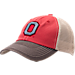 Front view of Top of the World Ohio State Buckeyes College Heritage Offroad Trucker Adjustable Hat in Three Tone Team Colors