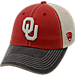 Front view of Top of the World Oklahoma Sooners College Heritage Offroad Trucker Adjustable Hat in Three Tone Team Colors