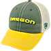 Front view of Top of the World Oregon Ducks College Heritage Offroad Trucker Adjustable Hat in Three Tone Team Colors