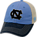 Front view of Top of the World North Carolina Tar Heels College Heritage Offroad Trucker Adjustable Hat in Three Tone Team Colors