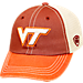 Front view of Top of the World Virginia Tech Hokies College Heritage Offroad Trucker Adjustable Hat in Three Tone Team Colors