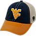 Front view of Top of the World West Virginia Mountaineers College Heritage Offroad Trucker Adjustable Hat in Three Tone Team Colors