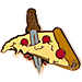 Front view of Pin God Pizza Dagger Enamel Pin in Original