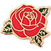 Front view of Pin God Rose Polished Enamel Pin in Red