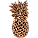Front view of Pin God Pineapple Enamel Pin in Orginal