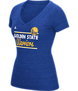 Women's adidas Golden State Warriors NBA Double Bar V-Neck T-Shirt