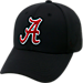 Front view of Top Of The World Alabama Crimson Tide College Rails Performance Flex Fit Hat in Black