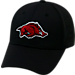 Front view of Top Of The World Arkansas Razorbacks College Rails Performance Flex Fit Hat in Black