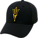 Front view of Top Of The World Arizona State Sun Devils College Rails Performance Flex Fit Hat in Black