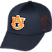 Front view of Top Of The World Auburn Tigers College Rails Performance Flex Fit Hat in Navy