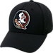 Front view of Top Of The World Florida State Seminoles College Rails Performance Flex Fit Hat in Black