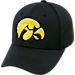 Front view of Top Of The World Iowa Hawkeyes College Rails Performance Flex Fit Hat in Black