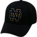 Front view of Top Of The World Notre Dame Fighting Irish College Rails Performance Flex Fit Hat in Black