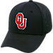 Front view of Top Of The World Oklahoma Sooners College Rails Performance Flex Fit Hat in Black