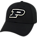 Front view of Top Of The World Purdue Boilermakers College Rails Performance Flex Fit Hat in Black