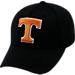 Front view of Top Of The World Tennessee Volunteers College Rails Performance Flex Fit Hat in Black