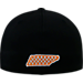 Back view of Top Of The World Tennessee Volunteers College Rails Performance Flex Fit Hat in Black